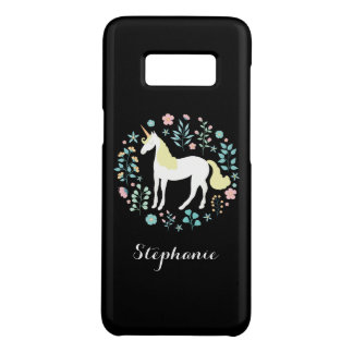 Unicorn & Flowers Black Personalized Case-Mate Samsung Galaxy S8 Case