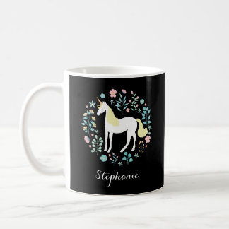 Unicorn & Flowers Black Personalized Coffee Mug