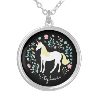 Unicorn & Flowers Black Personalized Silver Plated Necklace