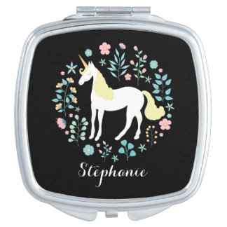 Unicorn & Flowers Black Personalized Travel Mirrors