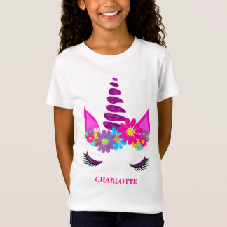 Unicorn Flowery Super Cute Girly Personalized T-Shirt