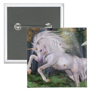 Unicorn Forest Stars Cristal Blue 2 Inch Square Button