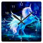 Unicorn Forest Stars Cristal Blue Square Wall Clock