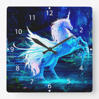 Unicorn Forest Stars Cristal Blue Square Wall Clock