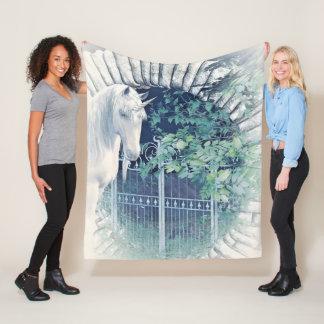 Unicorn garden fleece blanket