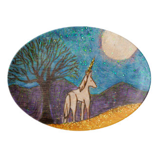 Unicorn Gazing at the Moon Porcelain Serving Platter