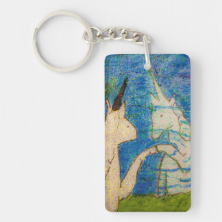 Unicorn Gazing in Reflection Keychain