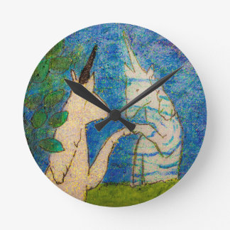 Unicorn Gazing in Reflection Round Clock