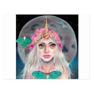 Unicorn Girl and her Luna Moths, Original art Postcard