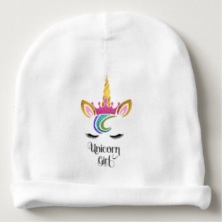 Unicorn Girl, Glitter Crown Face Calligraphy Baby Beanie