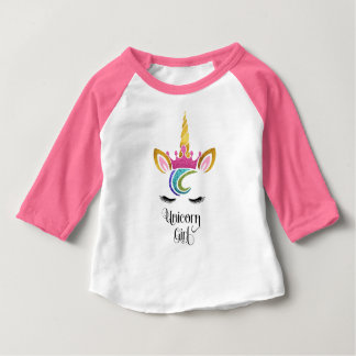 Unicorn Girl, Glitter Crown Face Calligraphy Baby T-Shirt