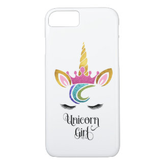 Unicorn Girl, Glitter Crown Face Calligraphy iPhone 8/7 Case