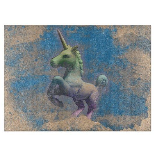 Unicorn Glass Cutting Board Rect (Sandy Blue)