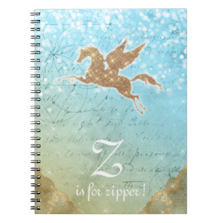 Unicorn Glitter Gold Blue Lights Letter Z Notebook