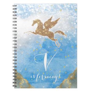 Unicorn Glitter Gold Blue Sky Clouds Star Letter V Notebook