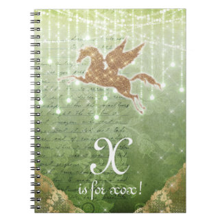 Unicorn Glitter Gold Green Lights Letter X Notebook