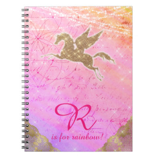 Unicorn Glitter Gold Light Purple Letter R Spiral Notebook
