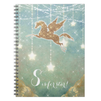 Unicorn Glitter Gold Light Stars Letter S Star Notebook