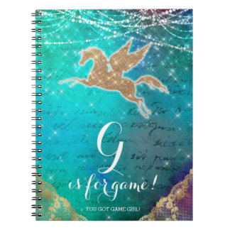 Unicorn Glitter Gold Lights Blue Letter G Spiral Notebook