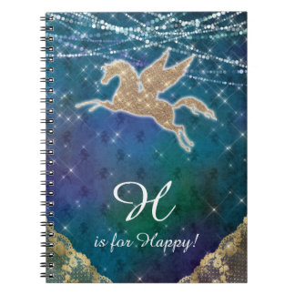 Unicorn Glitter Gold Lights Blue Letter H Notebook