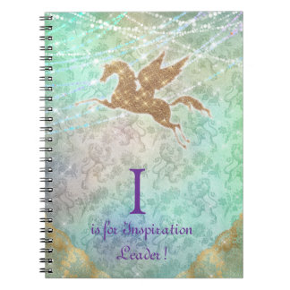 Unicorn Glitter Gold Lights Blue Letter I Spiral Notebook