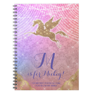 Unicorn Glitter Gold Lights Damask Letter M Notebook