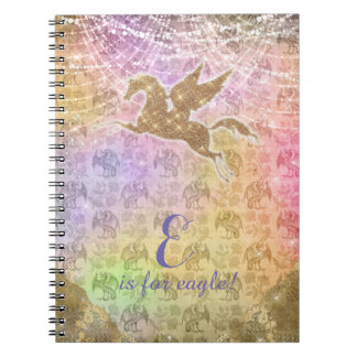 Unicorn Glitter Gold Lights Dragon Damask Letter E Spiral Notebook