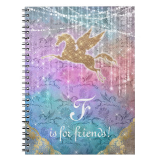Unicorn Glitter Gold Lights Letter F Spiral Notebook