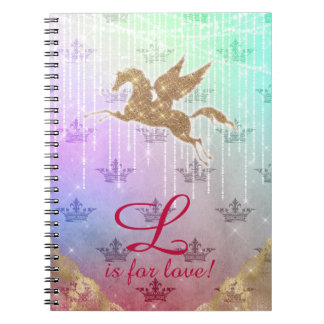 Unicorn Glitter Gold Lights Letter L crown love Notebooks