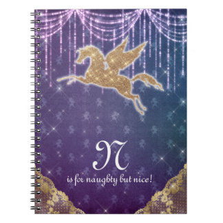 Unicorn Glitter Gold Lights Purple Letter N Spiral Notebook