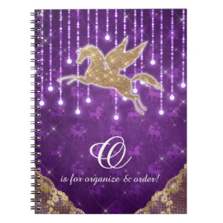 Unicorn Glitter Gold Lights Purple Letter O Notebook