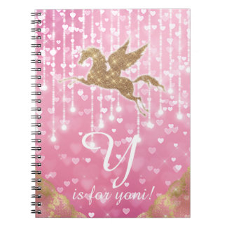 Unicorn Glitter Gold Pink Heart Lights Letter Y Spiral Notebook