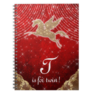 Unicorn Glitter Gold Red Light Stars Letter T Twin Spiral Notebook