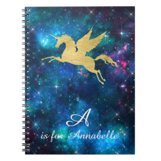 Unicorn Gold Indigo Black Cosmic Star Letter A Notebook