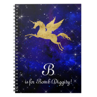 Unicorn Gold Indigo Black Cosmic Star Letter B Spiral Notebook
