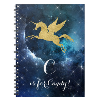 Unicorn Gold Indigo Black Cosmic Star Letter C Notebook