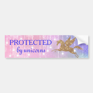 Unicorn Gold Sparkle Lights Bumper Sticker