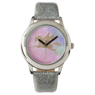 Unicorn Gold Sparkle Pink Silver Wrist Watch