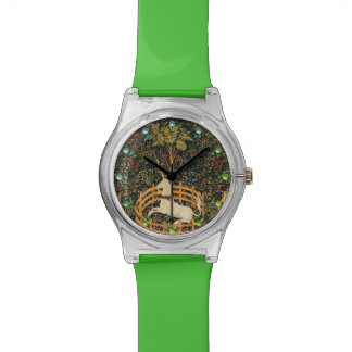 UNICORN GOTHIC FANTASY FLOWERS,FLORAL MOTIFS Green Watch