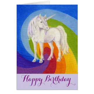 Unicorn happy birthday card