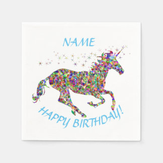 Unicorn Happy Birthday Paper Napkins Custom