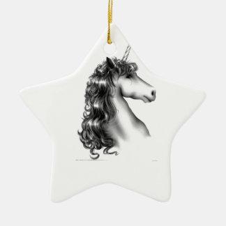 unicorn head ceramic star ornament