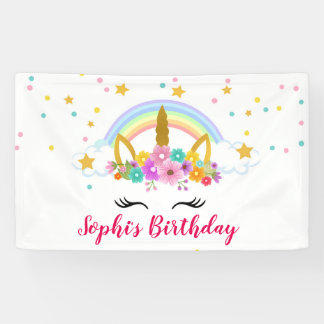 Unicorn head Gold horn with flowers- Banner