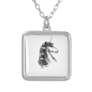 unicorn head silver plated necklace