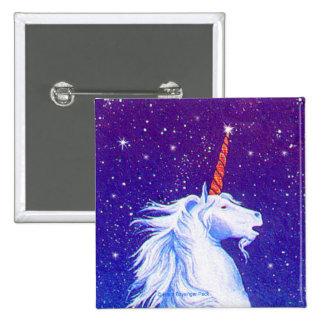 Unicorn Head Stars 2 Inch Square Button