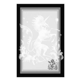 Unicorn Herald: Silver Personalized Stationery