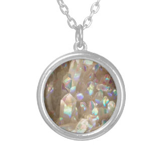 Unicorn Horn Aura Crystals Silver Plated Necklace