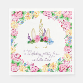 Unicorn Horn BOHO Watercolor Floral Birthday Party Paper Napkin