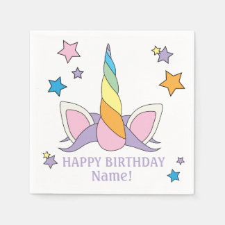 Unicorn Horn Customizable Birthday Napkins