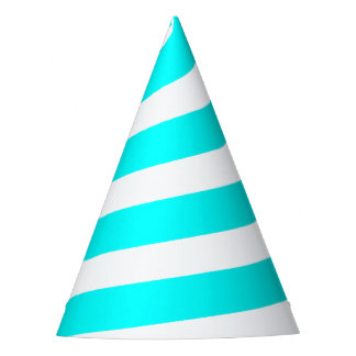 Unicorn Horn Party Hat - Cyan Blue & White
